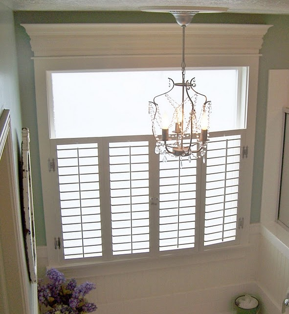 Master bathroom remove drawn blinds and do bottom half for Bathroom ideas with no windows