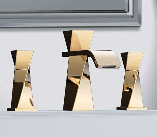 Oliver Jörger's Turn three-hole lavatory faucet in special-alloy brass