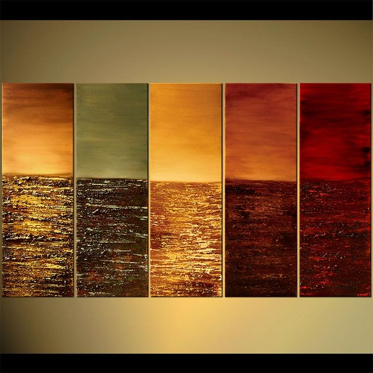 Exceptionnel Original Abstract Art Paintings By Osnat   Multi Panel Canvas In Red Tones