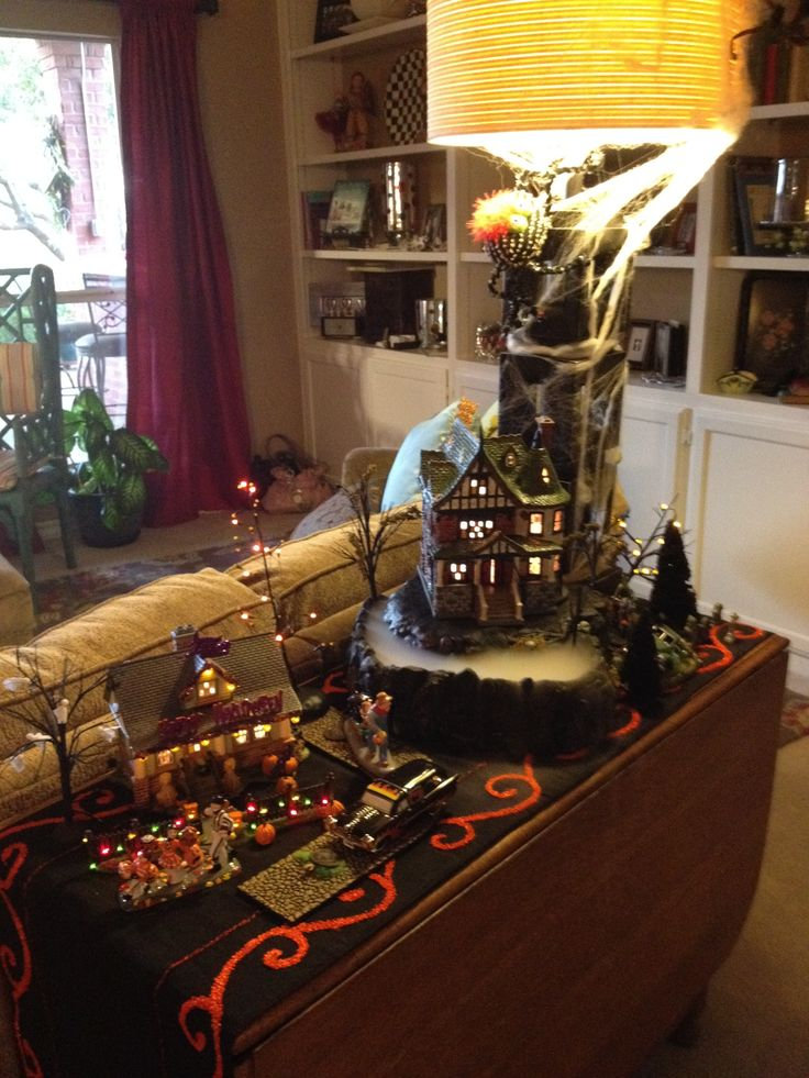halloween village dept 56 with build up and foggy base also
