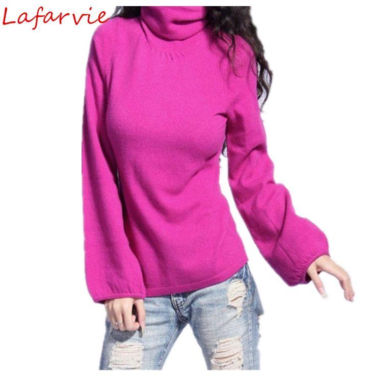 lafarvie נמכרים off חורף האופנה סוודר נשים בסוודרים & auturm קשמיר סוודרים סרוגים סוודרי קפה שרוול המלאה של הגברת
