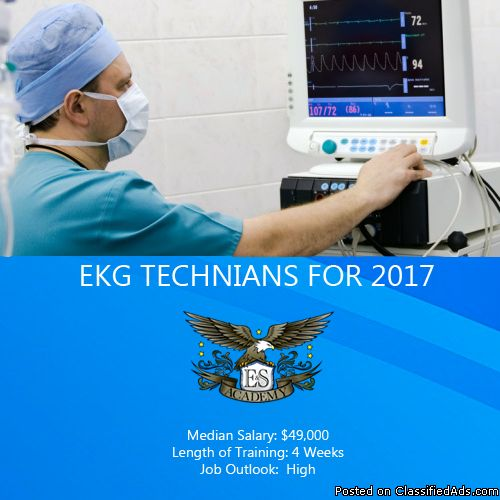 EKG classes are 4 weeks long at E & S Academy.  The EKG Technician Specialist career is a fast-growing career in New Jersey and throughout the United States.  You can make a difference in someone's life and your own by switching to this career today! Salary: $49,000Job Outlook: High Importance: High  You can find out more details about our EKG class by contacting our admissions team today at 908-603-1333 for the South Plainfield campus or 908-866-6662 for the Elizabeth campus.