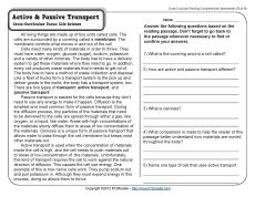 Active and Passive Transport | 5th Grade Reading Comprehension Worksheet
