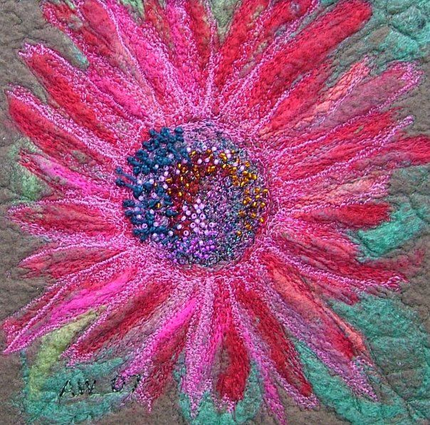 Needle Felted Flower - embellished with free machine embroidery and beads