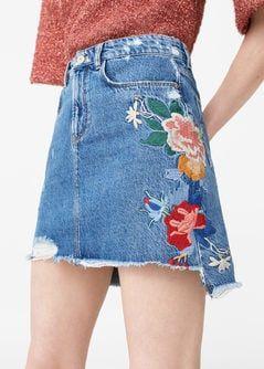 mango mini denim floral embroidered skirt