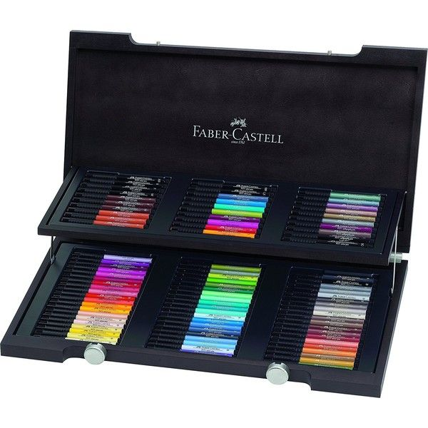 Faber-Castell Pitt Artist Wooden Box, Pack of 90 ($248) ❤ liked on Polyvore featuring home, home decor, small item storage, wood home decor, faber castell box, wooden box, wood sewing box and sewing box