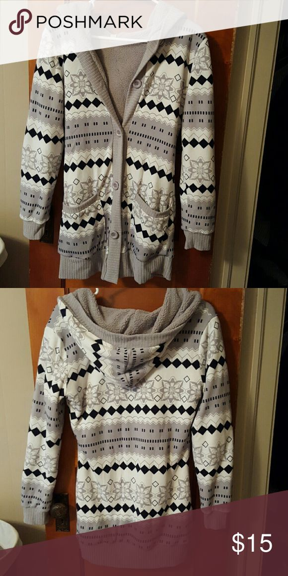 """Cozy Sweater Longer hooded sweater buttons up for winter. Soft inside material. No signs of wear, worn once. Comes to mid thigh for 5'3"""" other Sweaters Cardigans"""