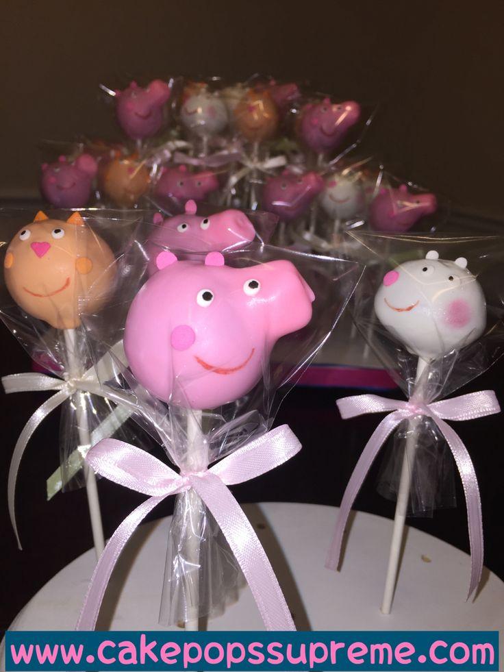 Peppa Pig on cake pops