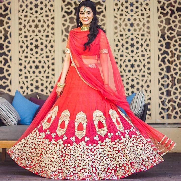 """#RidhiMehra Mahal Lehenga To shop this lehenga, mail at shop@ridhimehra.com #Repost @weddingsutra with @repostapp. ・・・ The 'Mahal' Lehenga by…"""