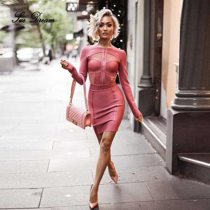 2017 new fashion summer women pink mesh dress O- Neck long sleeve Bandage Dress Evening Party Celebrity party bodycon Dresses
