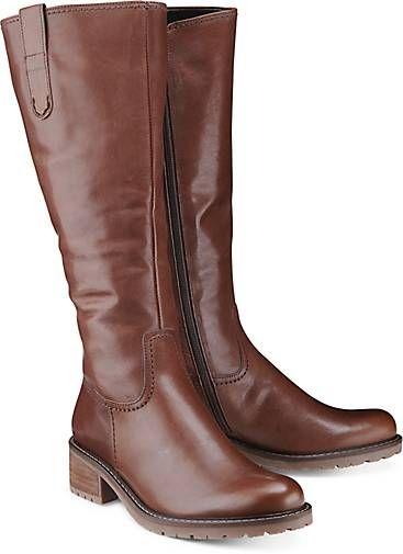 Dieser klassische Weitschaft-Stiefel von Gabor garantiert eine optimale Passform. Pflegeleichtes Glattleder in Braun schmiegt sich perfekt an Ihr Bein und setzt es so in Szene!