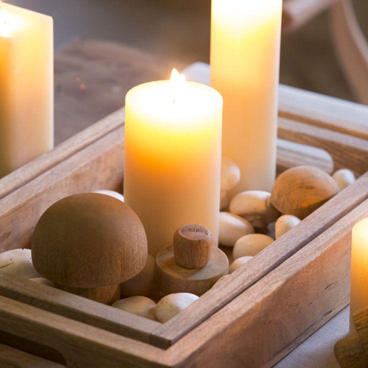Bandeja porta velas de madera para decoración y eventos. Decoragloba