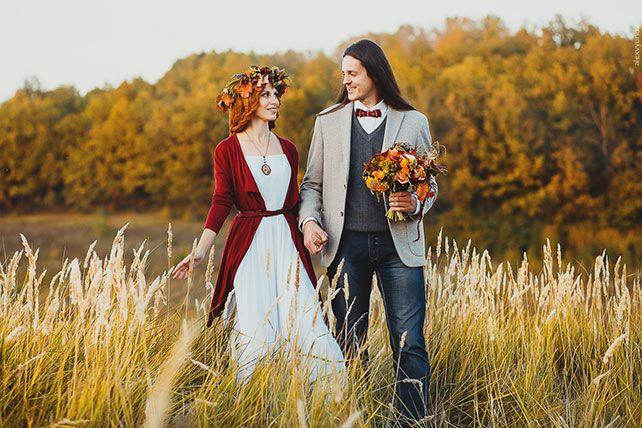 Солнечная осенняя свадьба Александра и Анны. Прическа невесты