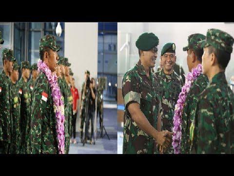 Disambut Kalungan Bunga, TIM TNI AD JUARA MENEMBAK AASAM 2017 Di Austral...