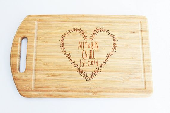 Personalized kitchen board bamboo board 38cm by by MissBoldDesign
