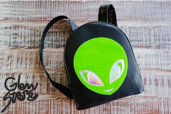 Alieno zaino olografica. Nero e verde Lime Rave Festival zaino su ordinazione.