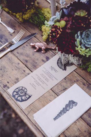 Wedding menu | Monsieur + Madame | See more on http://burnettsboards.com/2014/01/dinosaur-themed-wedding/