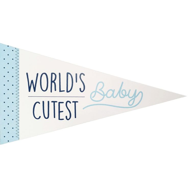 World's Cutest Baby Pennant Banner Sewn Greeting Card in Blue for Boy