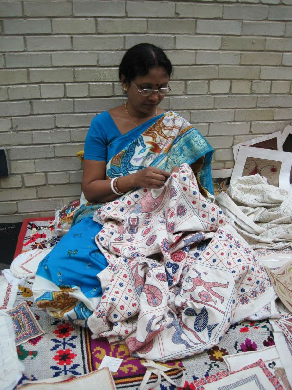 Woman Stitching Kantha Quilt (Photo: Nancy)