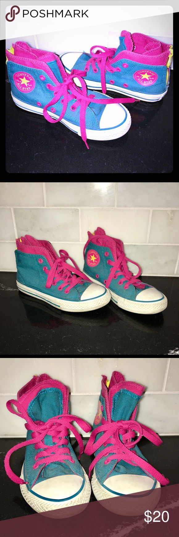 Converse High-tops Sneakers ❤️ Little Girls!! Adorable Converse High-tops EUC❗️ These may have been worn at most 5 times.  So cute ❤️ Converse Shoes Sneakers