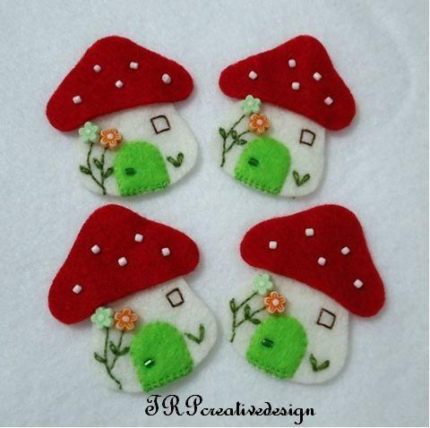 DOUBLE LAYERS Mushroom House Felt Applique (Vanilla - Red) - set of 4 pcs