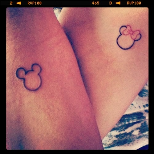 Minnie  amp  Mickey Mouse tattoo for husband and wife Mickey And Minnie Mouse Matching Tattoos