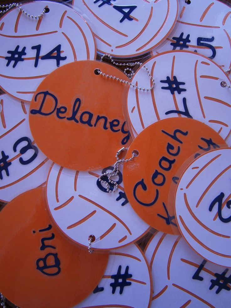 Bag tags for the volleyball team.