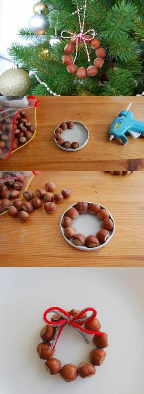 Hazelnuts glued together (using a lit to get an even circle) The result is a christmastree-ornament in the form of a wreath! ~I~ You could use chestnuts - and instead of glue - use needle and sisal-string..MR