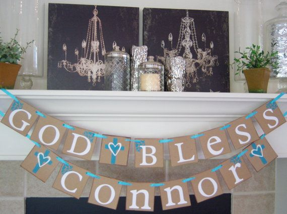 God Bless This Child personalized name Baptism banner Baptism Confirmation Decoration christening first communion