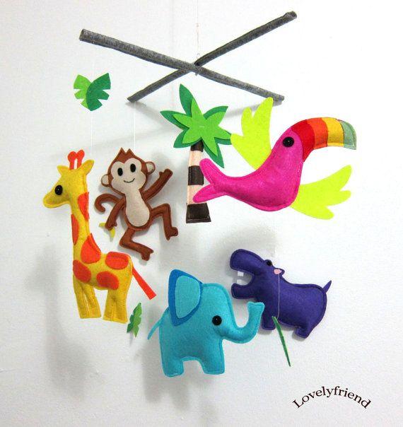 Baby Crib Mobile - Baby Mobile - Felt Mobile - Nursery mobile - Jungle Theme tropical bird Mobile (Custom color available). $78.00, via Etsy.