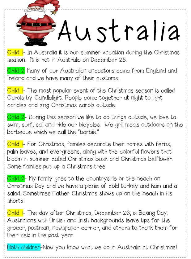 Christmas around the world reader theatre scripts.  Your students will learn about Christmas traditions in other countries.