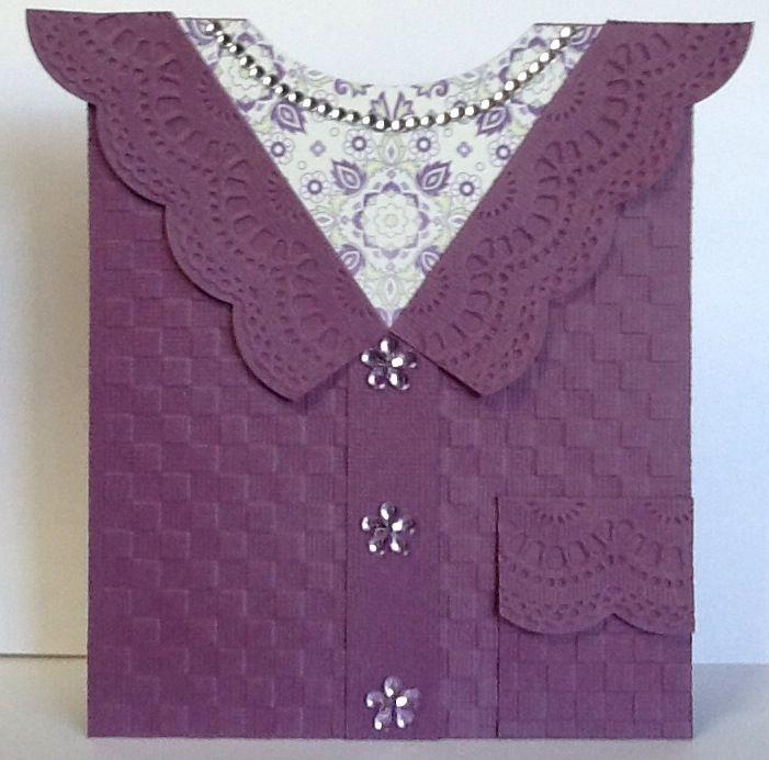 Cardigan card using Stampin Up Delicate Designs embossing folder~!