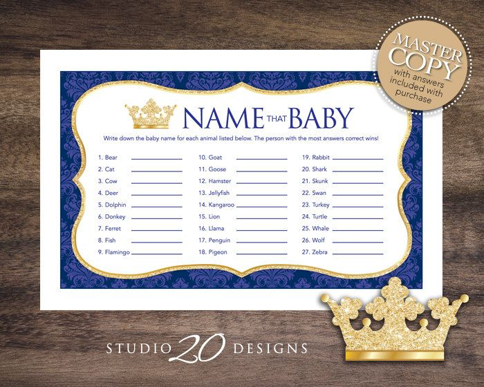 Instant Download Royal Blue Prince Name That Baby Game