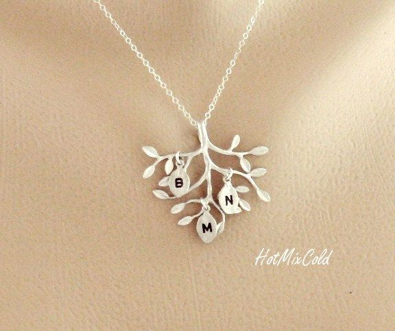 THREE Monogram Necklace, Silver Tree Necklace, Sisters, Children, Grandchildren, Mother Daughter Jewelry, Initial Necklace. $32.00, via Etsy.