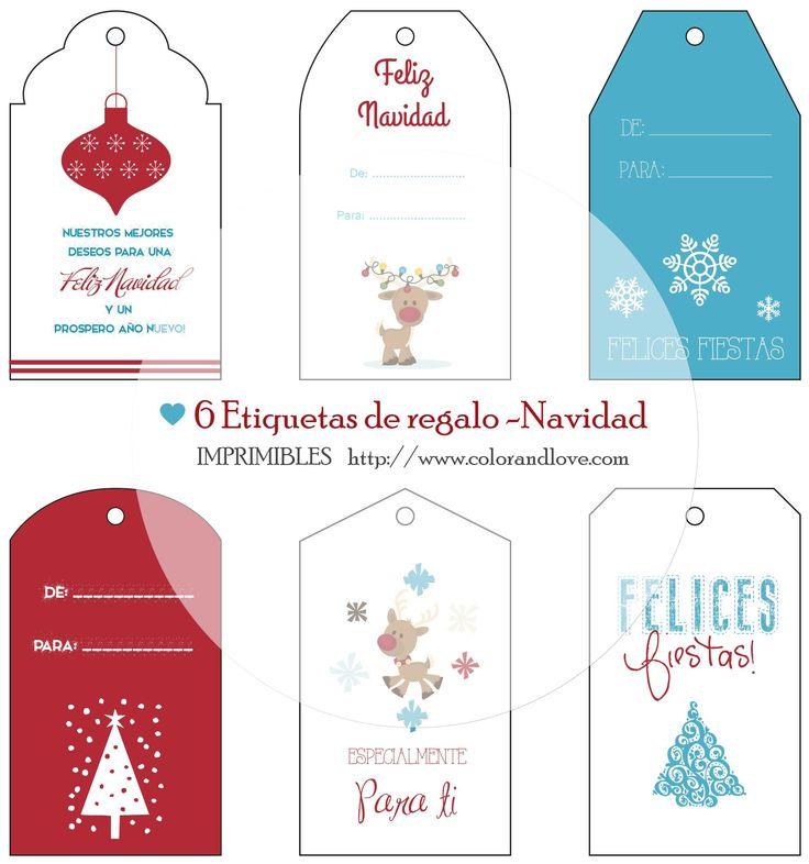 IMPRIMIBLES GRATIS – 6 Etiquetas de regalo para Navidad. en http://colorandlove.com/fb-free-gift-members/