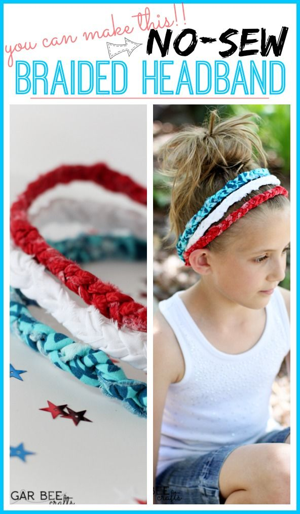 a DIY tutorial on how to make Red White Blue Braided Headbands - no sew! - Sugar Bee Crafts