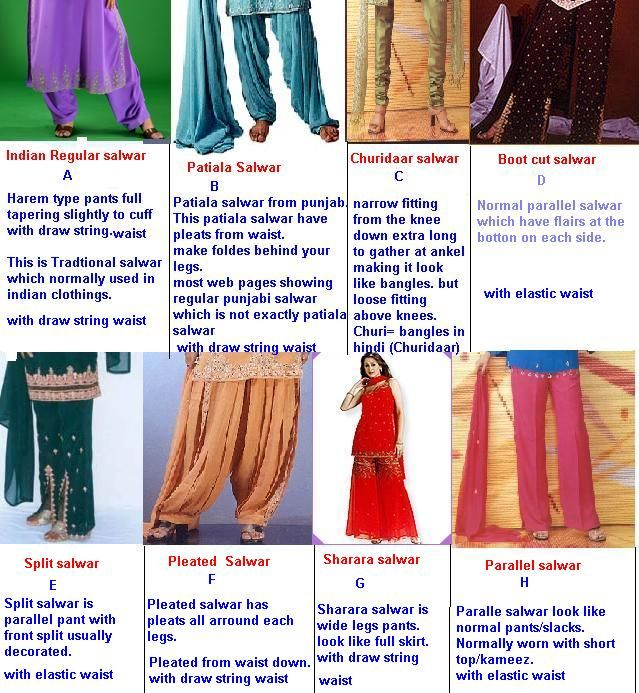 indian salwar pants type