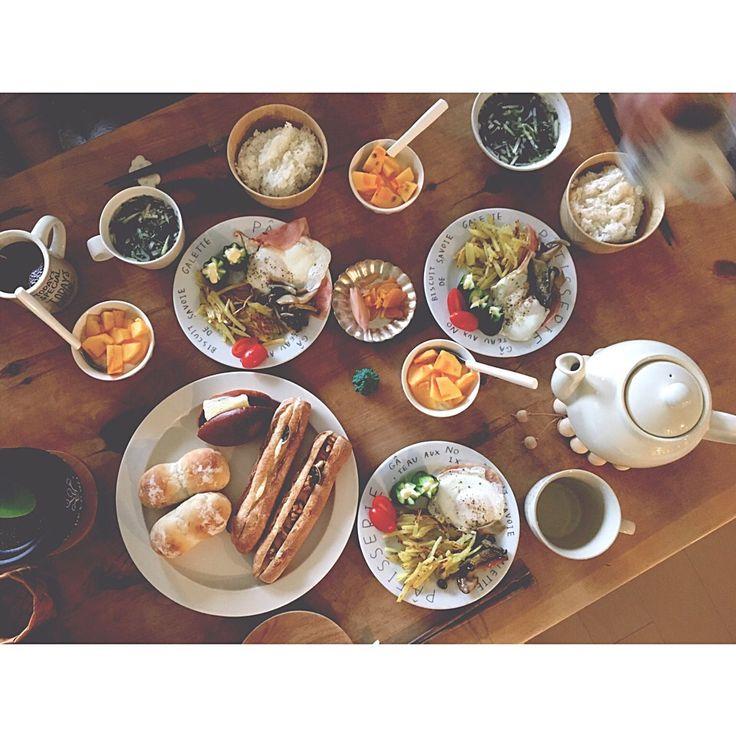 kayoko's dish photo 朝ごはん | http://snapdish.co #SnapDish #中華スープ #ハードブレッド #ハム/ソーセージ/ベーコン #野菜料理 #フルーツ