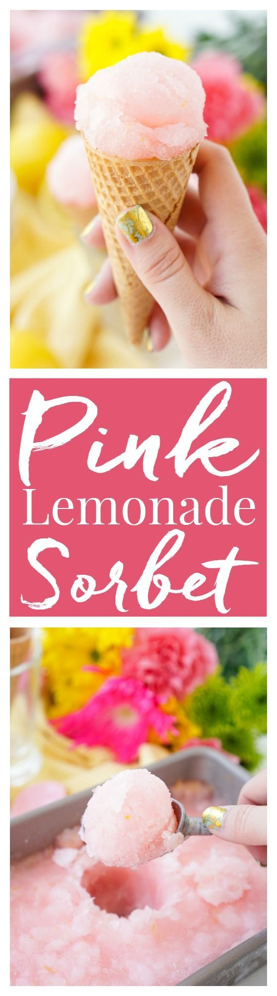 This Pink Lemonade Sorbet is a vibrant and fun no-churn summer treat. Just a little bit of hands-on work and let your freezer do the rest! (Pink Bake Goods)