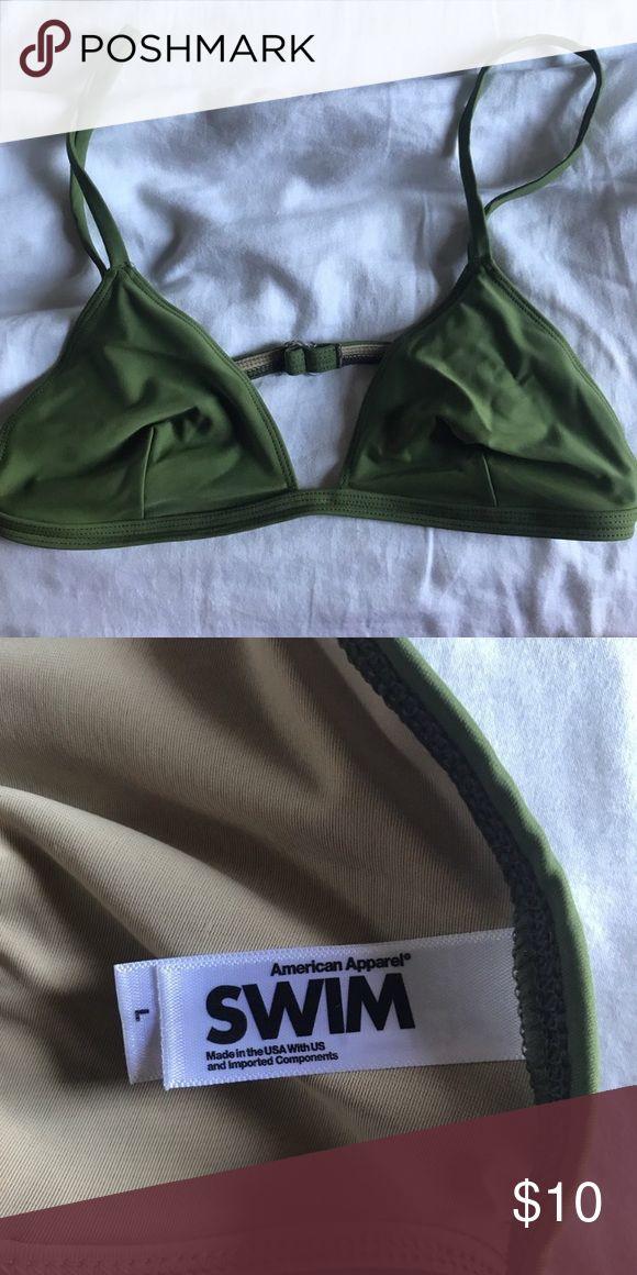 never worn green triangle bikini top american apparel  never worn size large can fit C-DD American Apparel Swim Bikinis