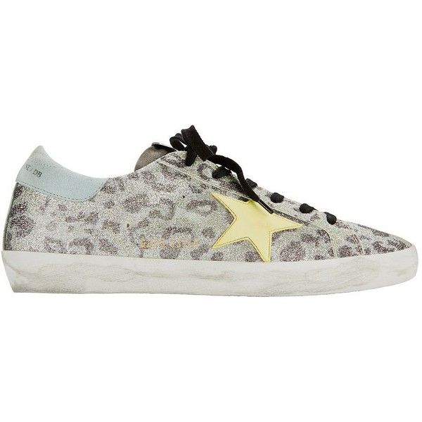 Golden Goose Women's Superstar Leopard Black Glitter Sneakers ($495) ❤ liked on Polyvore featuring shoes, sneakers, multi, black glitter shoes, lace up shoes, black trainers, black sneakers and leopard sneakers