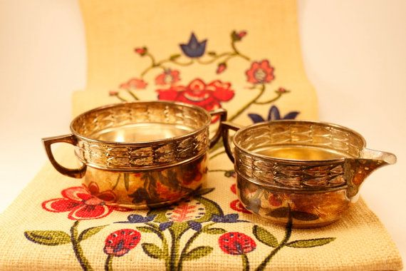 Nysilver Östberg & L 1960s a set Cream and by ScandicDiscovery