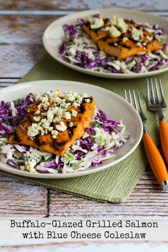 Buffalo-Glazed Grilled Salmon with Blue Cheese Coleslaw found on ...