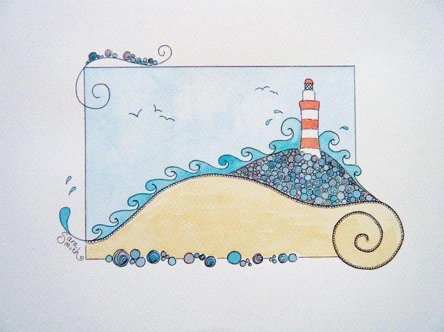 Lighthouse original watercolour painting £25.00