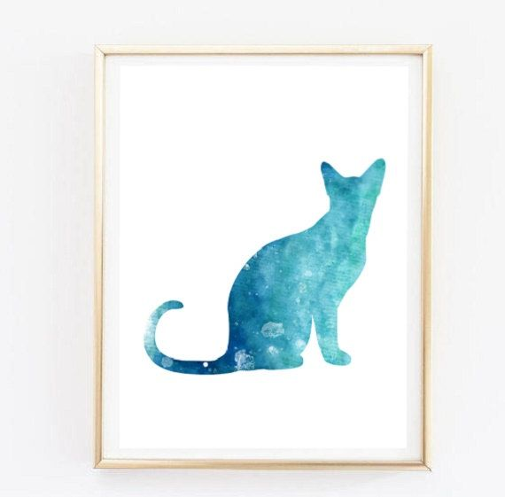AYAKA Studio on Etsy: Blue Watercolor Cat Digital Print/ Cat Poster https://www.etsy.com/it/listing/262751177/blue-cat-poster-watercolor-stampe?ref=shop_home_active_2