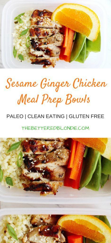 Sesame Ginger Chicken Meal Prep Bowls Recipe Chicken Recipes