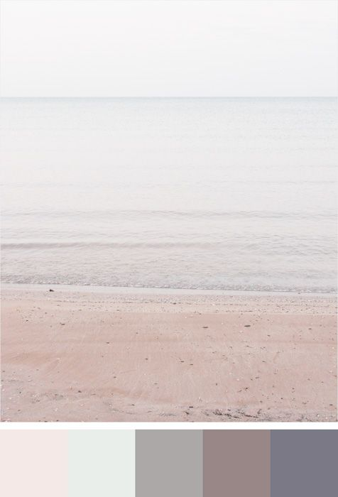 Benjamin Moore Color Trends 2017 - Colour Palette – Pink Bliss, Chalk White, Stormy Monday, Wet Concrete, Sea Life - Shown with minimalist beach photograph Lake Huron #3 by Jennifer Squires