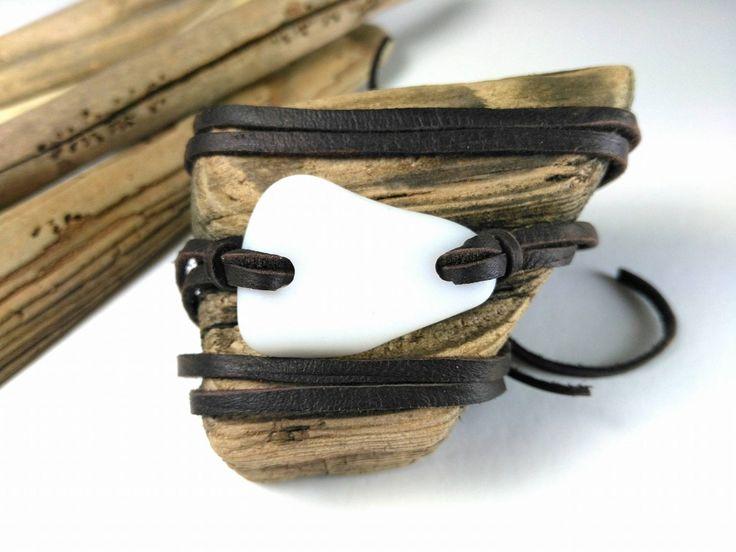 Milk white sea glass bracelet// Sea glass & leather// Boho bracelet by RedIslandSeaGlass on Etsy