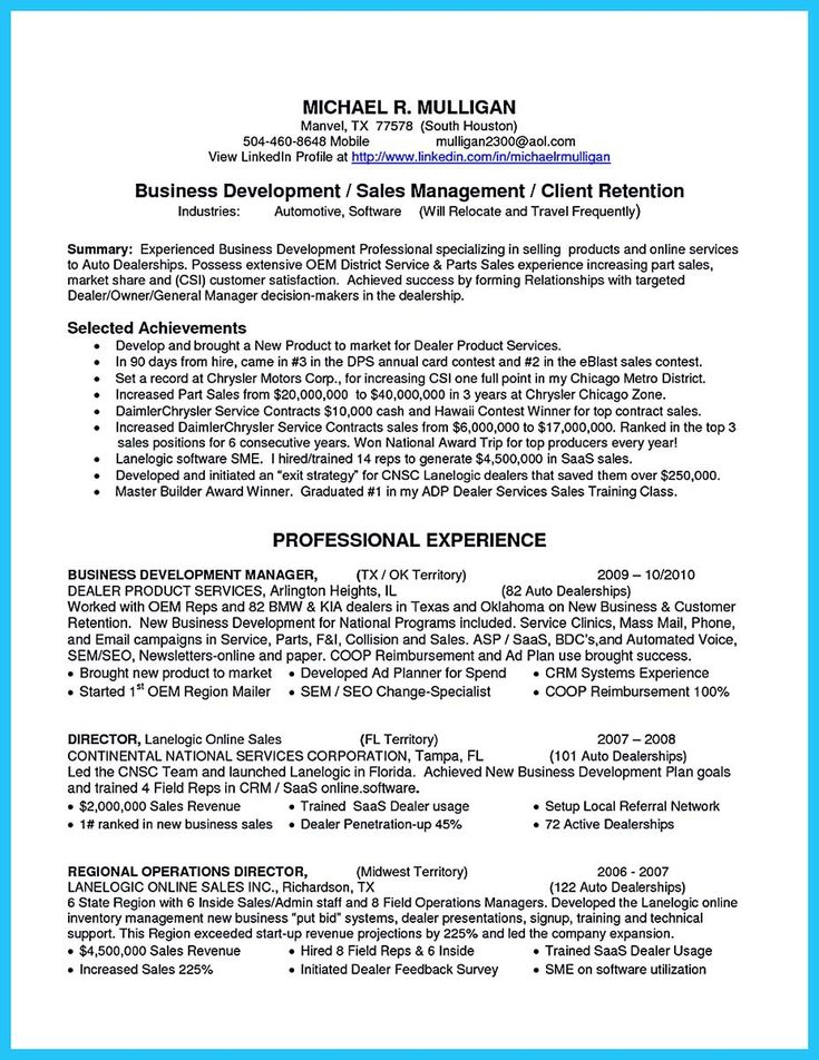 nice Writing a Clear Auto Sales Resume, resume template - resume goals