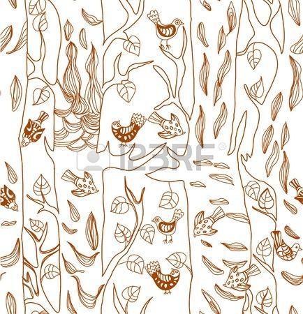 Jednolite tło z śmieszne ptaki i drzewa, ładny ręcznie rysowane ilustracji
